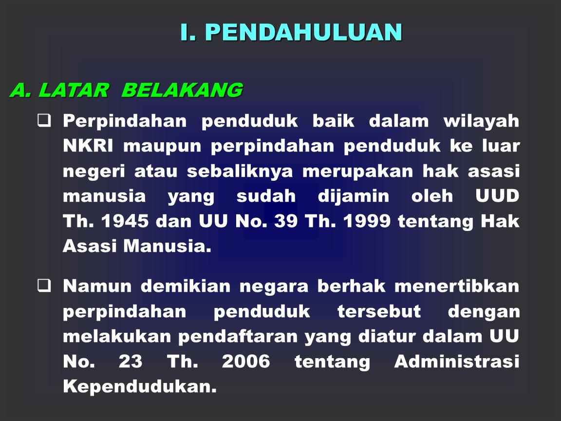 DEPARTEMEN DALAM NEGERI DITJEN ADMINISTRASI KEPENDUDUKAN PINDAH DATANG PENDUDUK DALAM WILAYAH NEGARA KESATUAN REPUBLIK INDONESIA Disampaikan Oleh : Ka