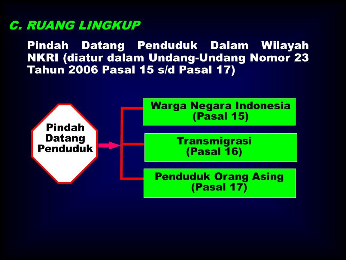 Pindah Datang Penduduk Dalam Wilayah NKRI (diatur dalam Undang-Undang Nomor 23 Tahun 2006 Pasal 15 s/d Pasal 17) Pindah Datang Penduduk Penduduk Orang Asing (Pasal 17) Transmigrasi (Pasal 16) Warga Negara Indonesia (Pasal 15) C.