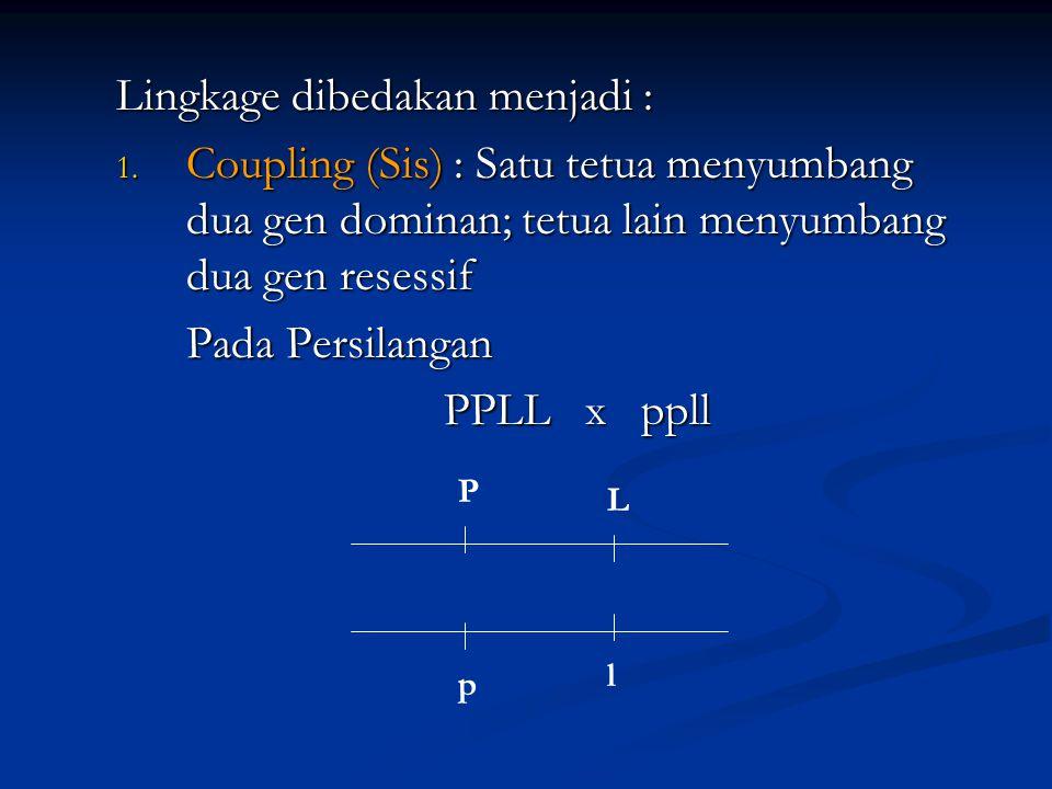 Lingkage dibedakan menjadi : 1. Coupling (Sis) : Satu tetua menyumbang dua gen dominan; tetua lain menyumbang dua gen resessif Pada Persilangan Pada P