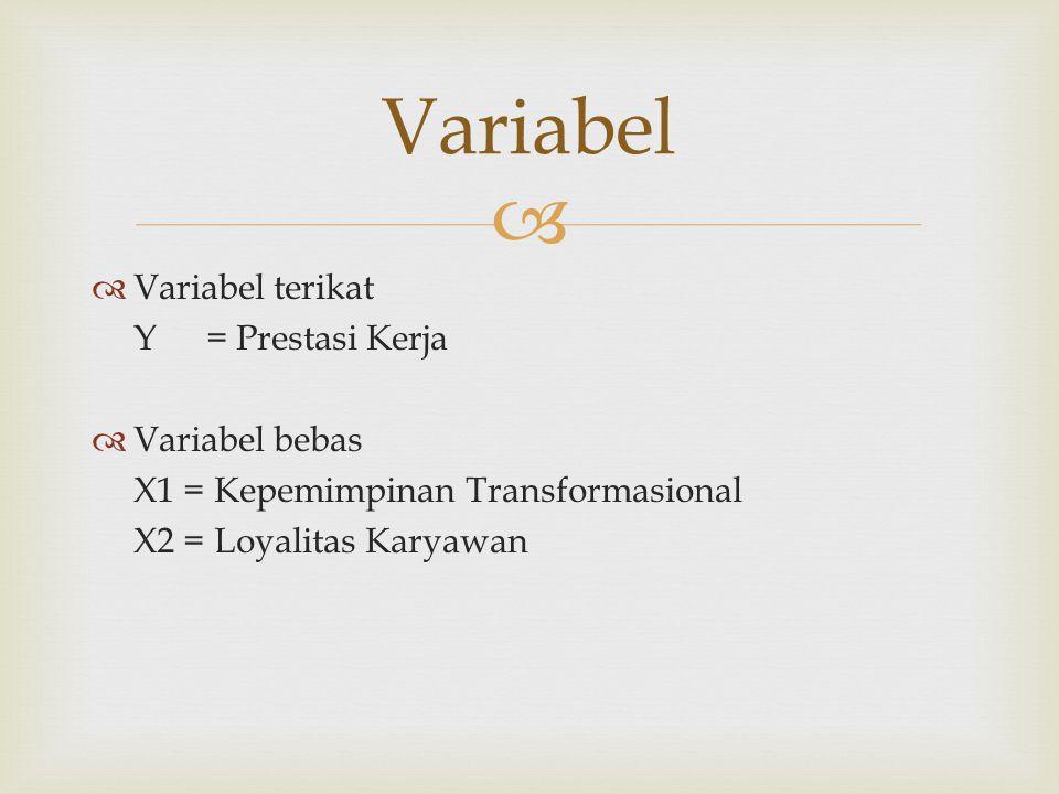   Variabel terikat Y = Prestasi Kerja  Variabel bebas X1 = Kepemimpinan Transformasional X2 = Loyalitas Karyawan Variabel