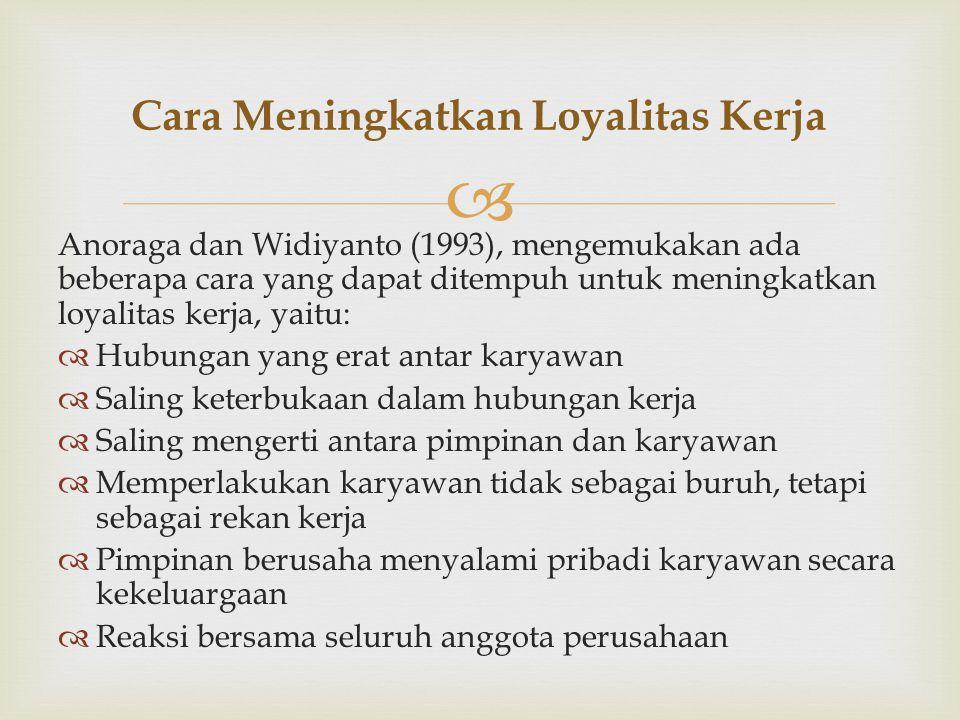  Anoraga dan Widiyanto (1993), mengemukakan ada beberapa cara yang dapat ditempuh untuk meningkatkan loyalitas kerja, yaitu:  Hubungan yang erat antar karyawan  Saling keterbukaan dalam hubungan kerja  Saling mengerti antara pimpinan dan karyawan  Memperlakukan karyawan tidak sebagai buruh, tetapi sebagai rekan kerja  Pimpinan berusaha menyalami pribadi karyawan secara kekeluargaan  Reaksi bersama seluruh anggota perusahaan Cara Meningkatkan Loyalitas Kerja