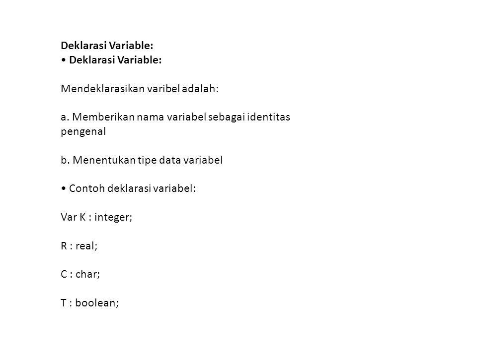 Deklarasi Variable: Mendeklarasikan varibel adalah: a.
