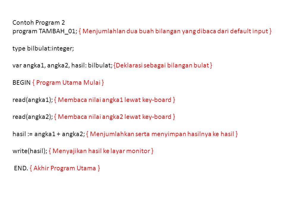 Contoh Program 2 program TAMBAH_01; { Menjumlahlan dua buah bilangan yang dibaca dari default input } type bilbulat:integer; var angka1, angka2, hasil: bilbulat; {Deklarasi sebagai bilangan bulat } BEGIN { Program Utama Mulai } read(angka1); { Membaca nilai angka1 lewat key-board } read(angka2); { Membaca nilai angka2 lewat key-board } hasil := angka1 + angka2; { Menjumlahkan serta menyimpan hasilnya ke hasil } write(hasil); { Menyajikan hasil ke layar monitor } END.