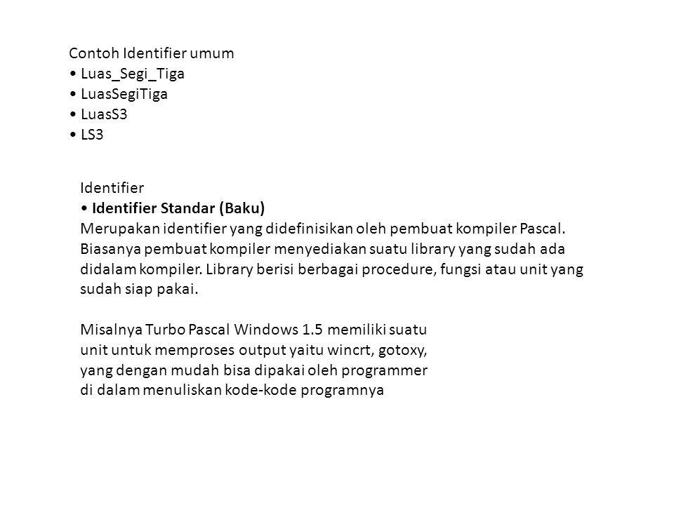 Contoh Identifier umum Luas_Segi_Tiga LuasSegiTiga LuasS3 LS3 Identifier Identifier Standar (Baku) Merupakan identifier yang didefinisikan oleh pembua