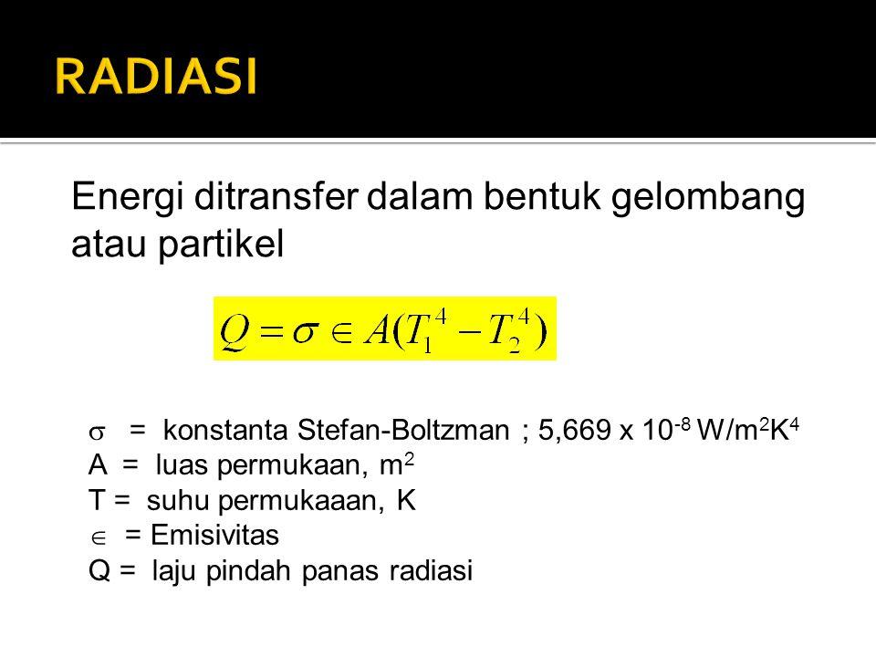 Energi ditransfer dalam bentuk gelombang atau partikel  = konstanta Stefan-Boltzman ; 5,669 x 10 -8 W/m 2 K 4 A = luas permukaan, m 2 T = suhu permukaaan, K  = Emisivitas Q = laju pindah panas radiasi
