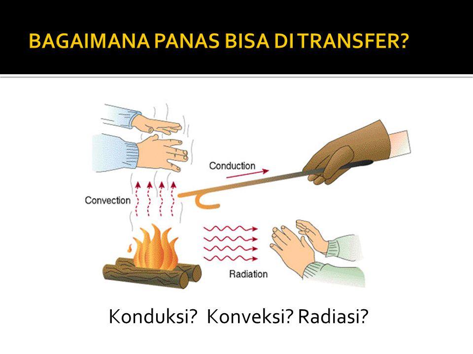 1.Konduksi panas: Perpindahan panas tanpa disertai perpindahan materi (panas mengalir melalui material statis ) 2.Konveksi panas: Perpindahan panas disertai perpindahan materi (panas mengalir melalui media yang bergerak atau terbawa oleh medium yang bergerak (fluida)) 3.Radiasi panas: Perpindahan panas terpancar (panas berpindah melalui ruang dengan atau tanpa media)