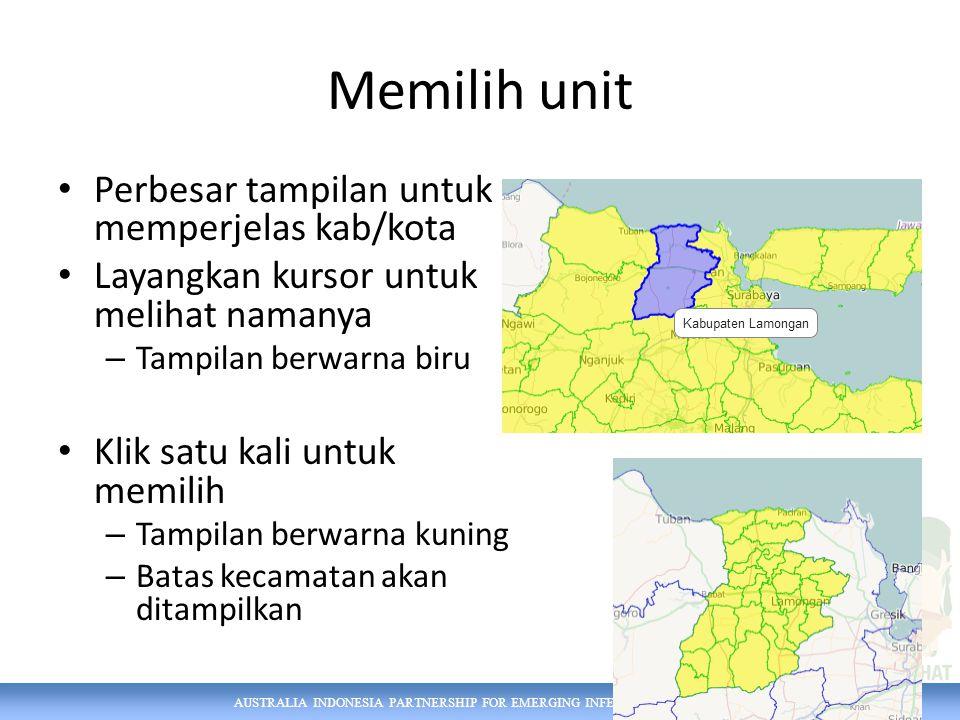 AUSTRALIA INDONESIA PARTNERSHIP FOR EMERGING INFECTIOUS DISEASES Memilih unit Perbesar tampilan untuk memperjelas kab/kota Layangkan kursor untuk melihat namanya – Tampilan berwarna biru Klik satu kali untuk memilih – Tampilan berwarna kuning – Batas kecamatan akan ditampilkan