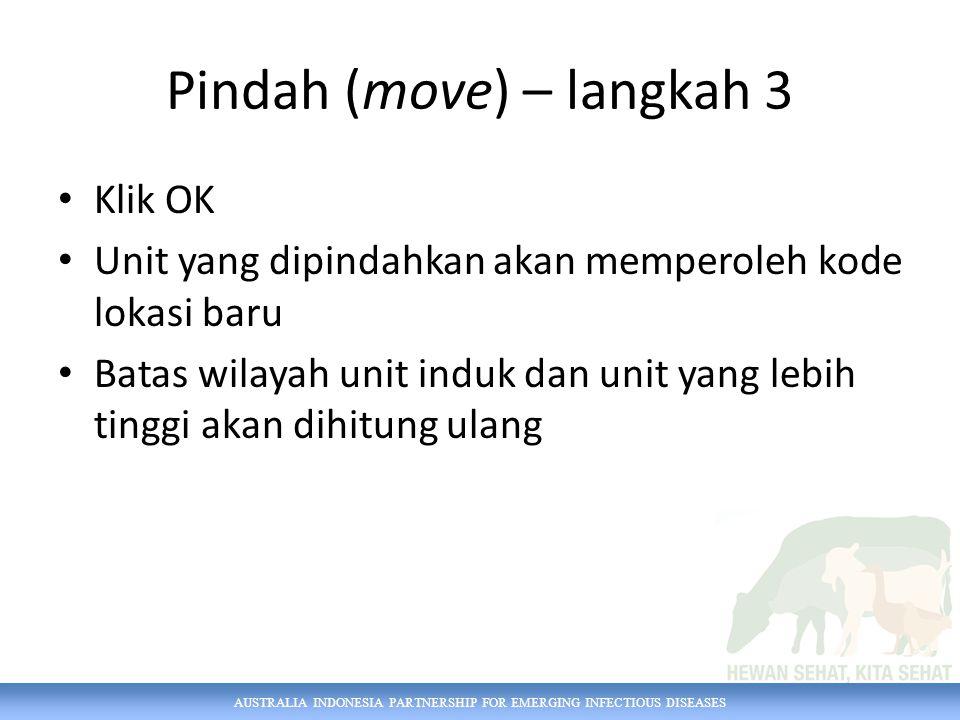 AUSTRALIA INDONESIA PARTNERSHIP FOR EMERGING INFECTIOUS DISEASES Pindah (move) – langkah 3 Klik OK Unit yang dipindahkan akan memperoleh kode lokasi baru Batas wilayah unit induk dan unit yang lebih tinggi akan dihitung ulang