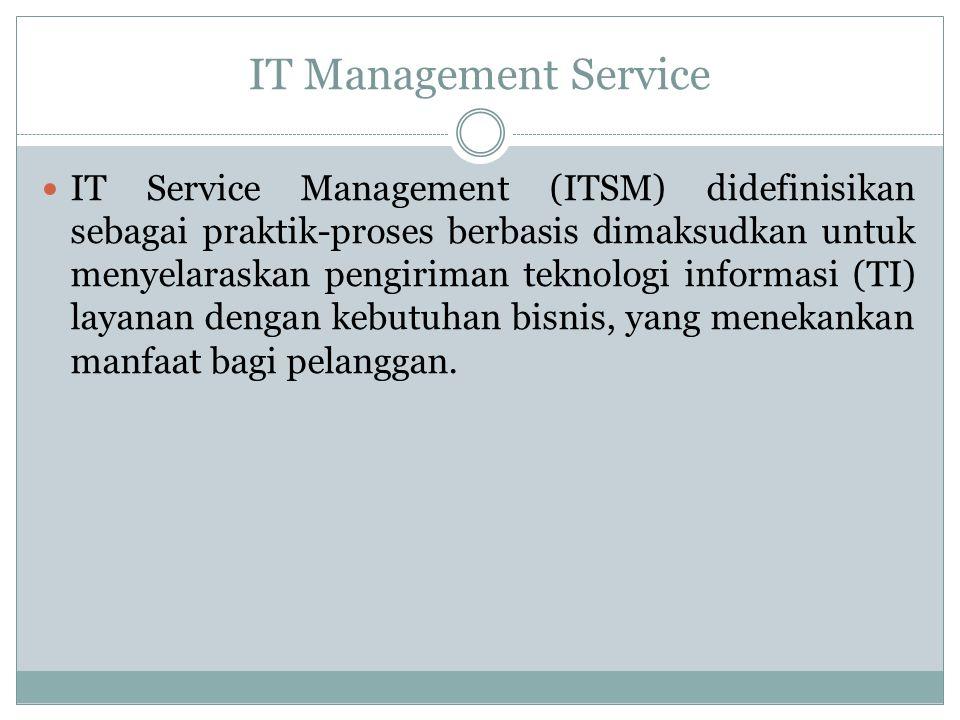 IT Management Service IT Service Management (ITSM) didefinisikan sebagai praktik-proses berbasis dimaksudkan untuk menyelaraskan pengiriman teknologi informasi (TI) layanan dengan kebutuhan bisnis, yang menekankan manfaat bagi pelanggan.