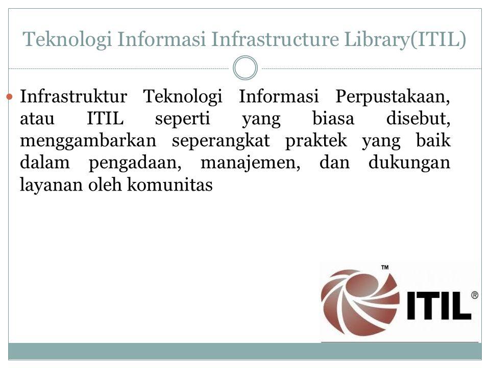 Teknologi Informasi Infrastructure Library(ITIL) Infrastruktur Teknologi Informasi Perpustakaan, atau ITIL seperti yang biasa disebut, menggambarkan seperangkat praktek yang baik dalam pengadaan, manajemen, dan dukungan layanan oleh komunitas