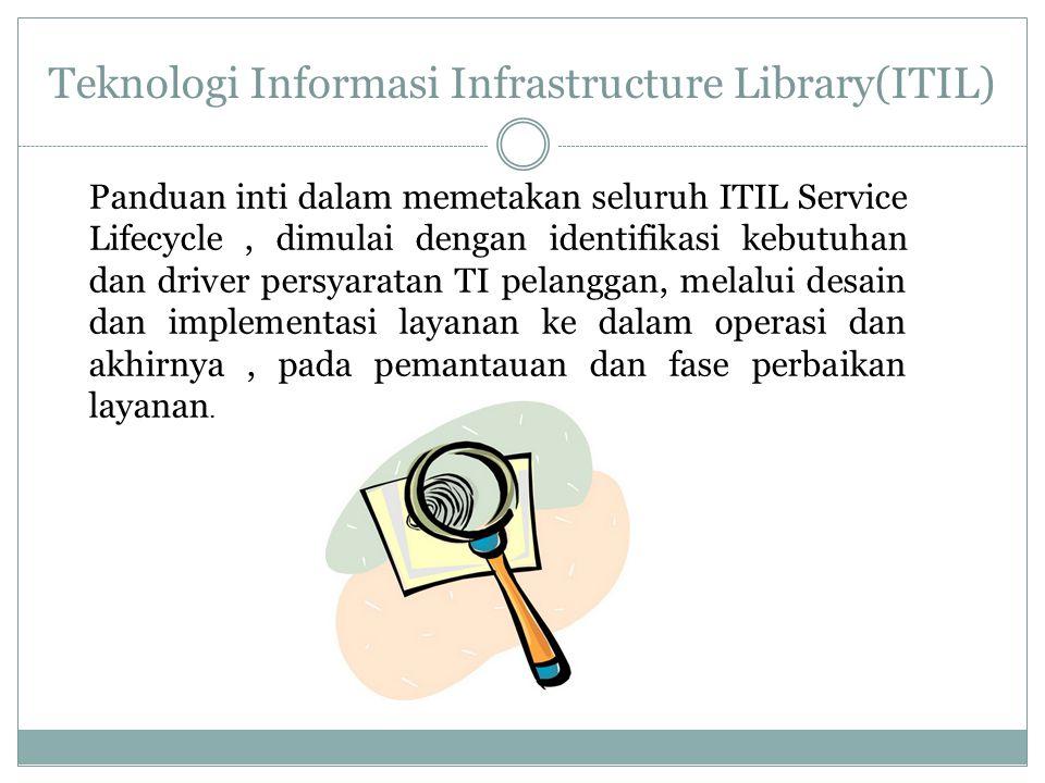 Teknologi Informasi Infrastructure Library(ITIL) Panduan inti dalam memetakan seluruh ITIL Service Lifecycle, dimulai dengan identifikasi kebutuhan da