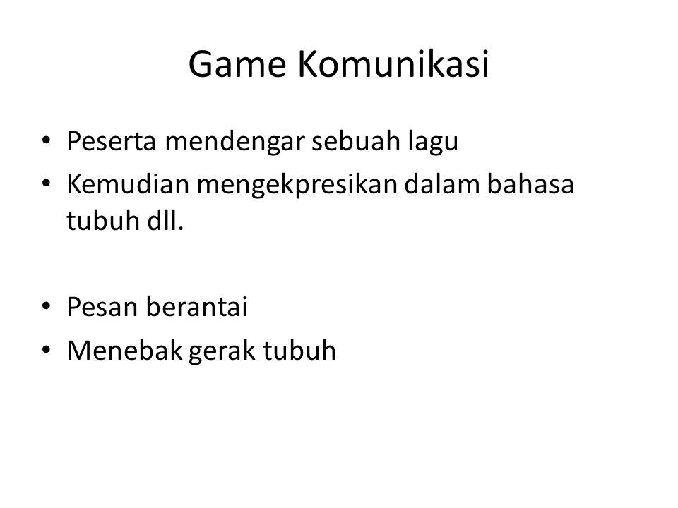 Game Komunikasi Peserta mendengar sebuah lagu Kemudian mengekpresikan dalam bahasa tubuh dll. Pesan berantai Menebak gerak tubuh