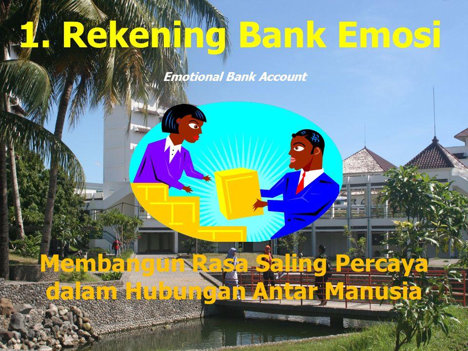 4/15/20158 1. Rekening Bank Emosi Membangun Rasa Saling Percaya dalam Hubungan Antar Manusia Emotional Bank Account