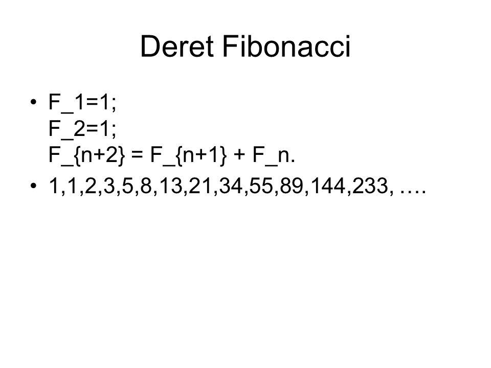F_1=1; F_2=1; F_{n+2} = F_{n+1} + F_n. 1,1,2,3,5,8,13,21,34,55,89,144,233, ….
