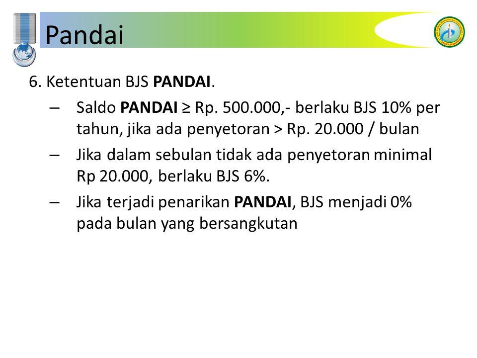 Pandai 6. Ketentuan BJS PANDAI. – Saldo PANDAI ≥ Rp. 500.000,- berlaku BJS 10% per tahun, jika ada penyetoran > Rp. 20.000 / bulan – Jika dalam sebula