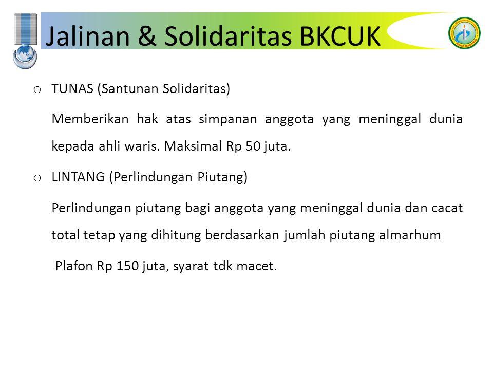 Jalinan & Solidaritas BKCUK o TUNAS (Santunan Solidaritas) Memberikan hak atas simpanan anggota yang meninggal dunia kepada ahli waris. Maksimal Rp 50
