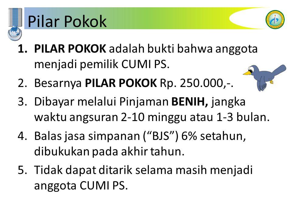 Pilar Pokok 1.PILAR POKOK adalah bukti bahwa anggota menjadi pemilik CUMI PS. 2.Besarnya PILAR POKOK Rp. 250.000,-. 3.Dibayar melalui Pinjaman BENIH,