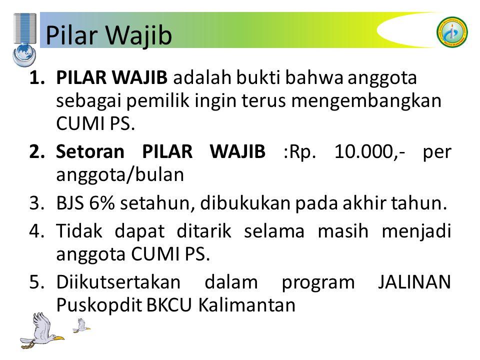 Pilar Wajib 1.PILAR WAJIB adalah bukti bahwa anggota sebagai pemilik ingin terus mengembangkan CUMI PS. 2.Setoran PILAR WAJIB :Rp. 10.000,- per anggot