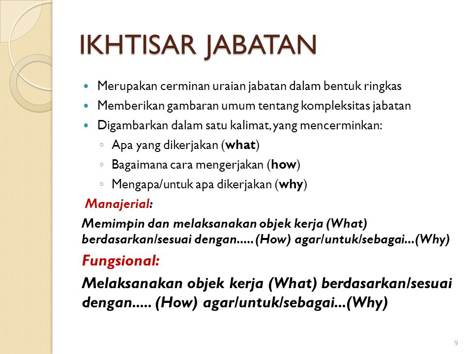 JENIS TEMPERAMEN KERJA ◦ D (DCP) : Directing-Control-Planning ◦ F (FIF) : Feeling-Idea-Fact ◦ I (INFLU) : Influencing ◦ J (SJC) : Sensory & Judgmental Criteria ◦ M (MVC) : Measurable and Verifiable Criteria ◦ P (DEPL) : Dealing with People ◦ R (REPCON) : Repetitive and Continuous ◦ S (PUS) : Performing under Stress ◦ T (STS) : Set of Limits, Tolerance and Other Standards ◦ V (VARCH) : Variety and Changing Conditions 30