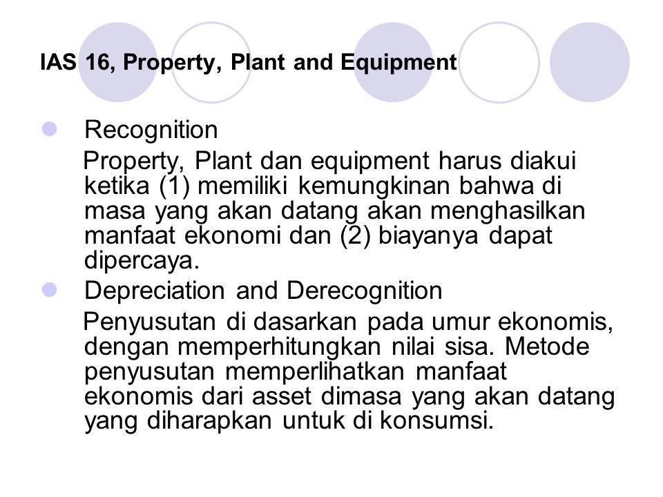 IAS 16, Property, Plant and Equipment Recognition Property, Plant dan equipment harus diakui ketika (1) memiliki kemungkinan bahwa di masa yang akan d