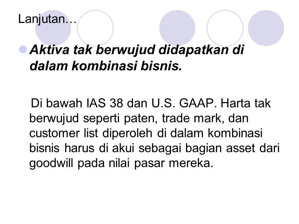 Lanjutan… Aktiva tak berwujud didapatkan di dalam kombinasi bisnis. Di bawah IAS 38 dan U.S. GAAP. Harta tak berwujud seperti paten, trade mark, dan c