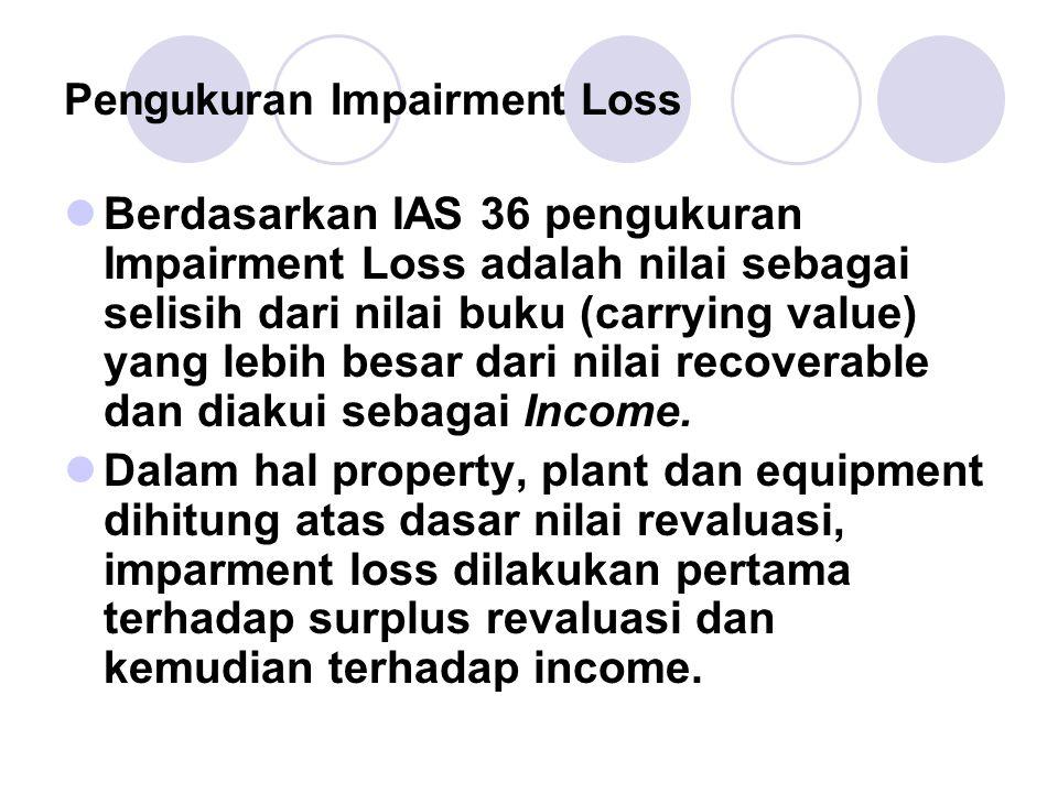 Pengukuran Impairment Loss Berdasarkan IAS 36 pengukuran Impairment Loss adalah nilai sebagai selisih dari nilai buku (carrying value) yang lebih besa