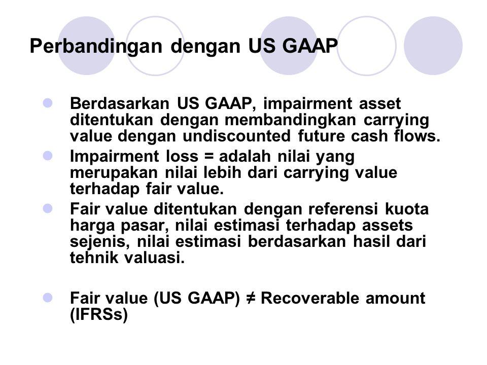 Perbandingan dengan US GAAP Berdasarkan US GAAP, impairment asset ditentukan dengan membandingkan carrying value dengan undiscounted future cash flows