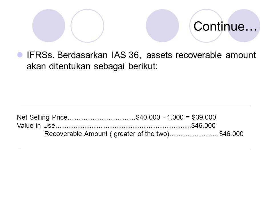 Continue… IFRSs. Berdasarkan IAS 36, assets recoverable amount akan ditentukan sebagai berikut: Net Selling Price…………………………$40.000 - 1.000 = $39.000 V