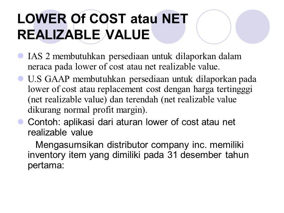 LOWER Of COST atau NET REALIZABLE VALUE IAS 2 membutuhkan persediaan untuk dilaporkan dalam neraca pada lower of cost atau net realizable value. U.S G