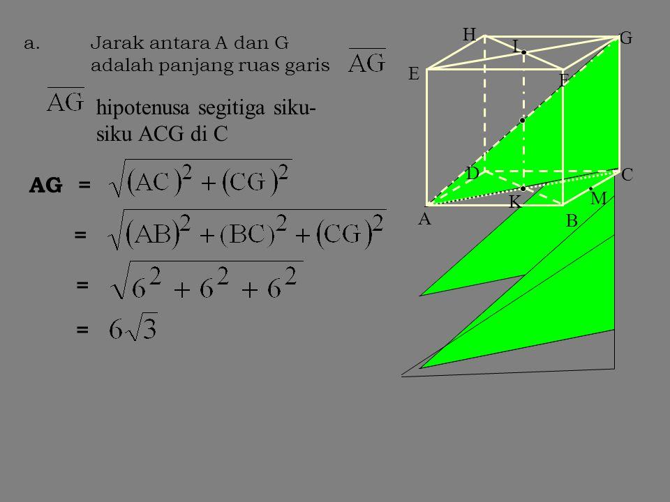 Penerapan Tunjukkan dan hitunglah jarak antara a. Tititk A dan G. b. Titik B dan rusuk EH c. Titik C dan rusuk AH Diketahui sebuah kubus dengan alas A