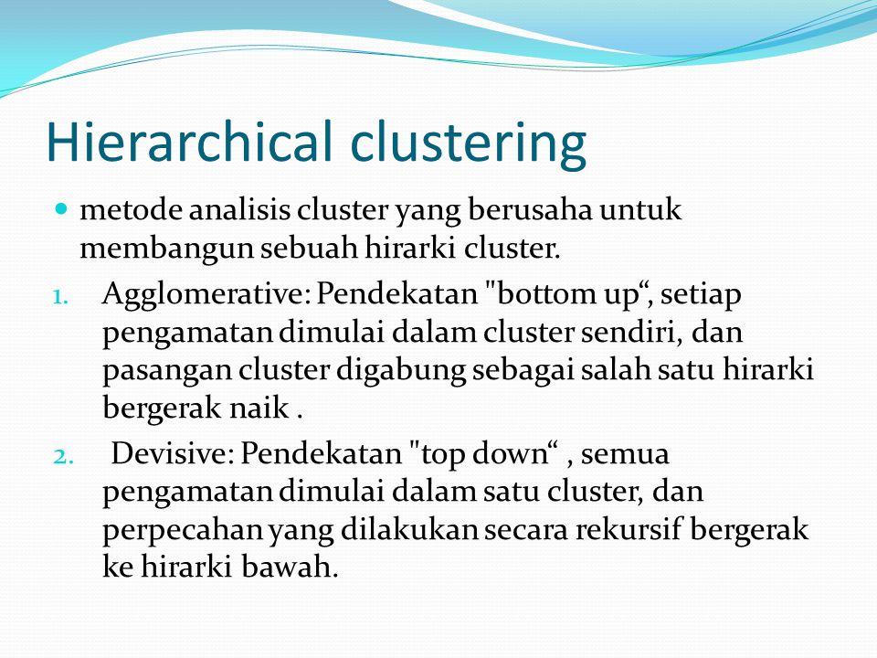 Hierarchical clustering metode analisis cluster yang berusaha untuk membangun sebuah hirarki cluster. 1. Agglomerative: Pendekatan