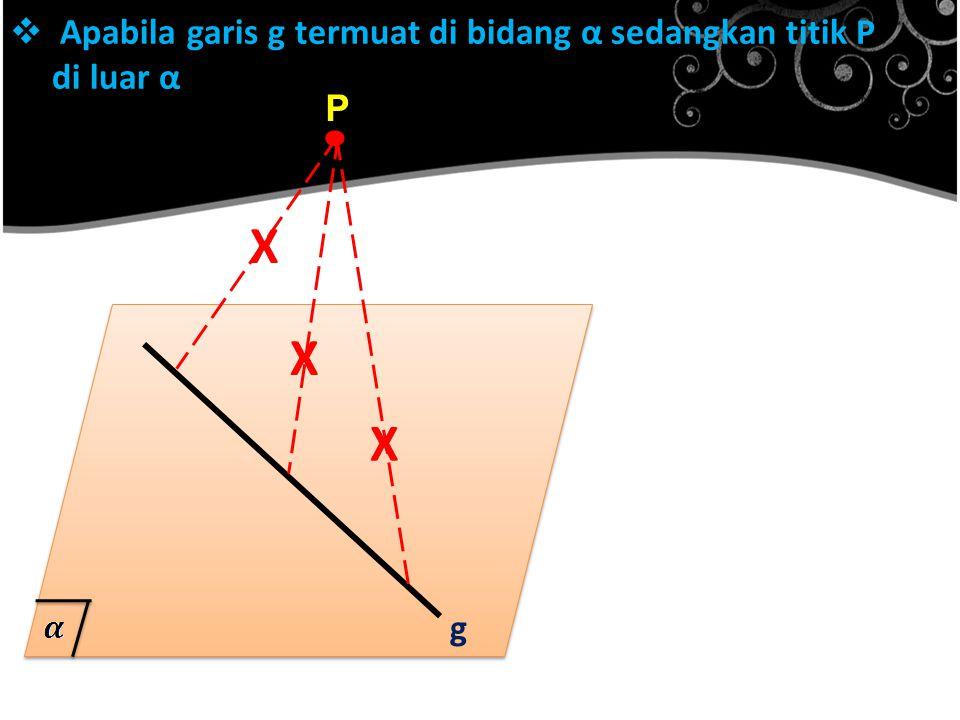  Apabila garis g termuat di bidang α sedangkan titik P di luar α. P g X X X