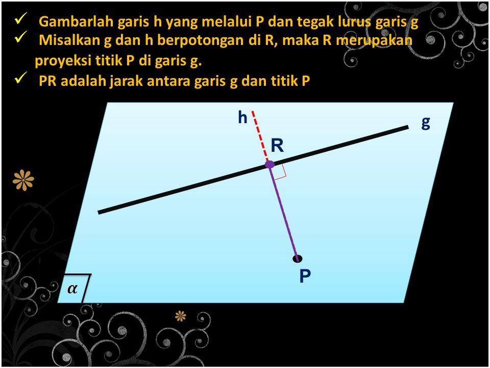 Gambarlah garis h yang melalui P dan tegak lurus garis g. P g h Misalkan g dan h berpotongan di R, maka R merupakan proyeksi titik P di garis g.. R PR