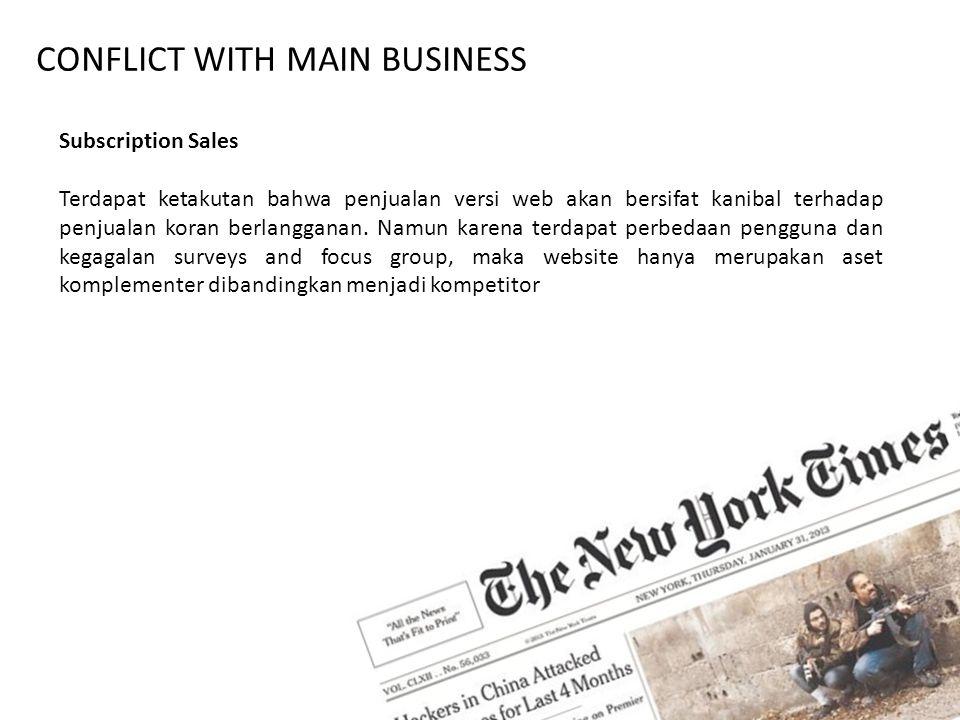 CONFLICT WITH MAIN BUSINESS Subscription Sales Terdapat ketakutan bahwa penjualan versi web akan bersifat kanibal terhadap penjualan koran berlanggana