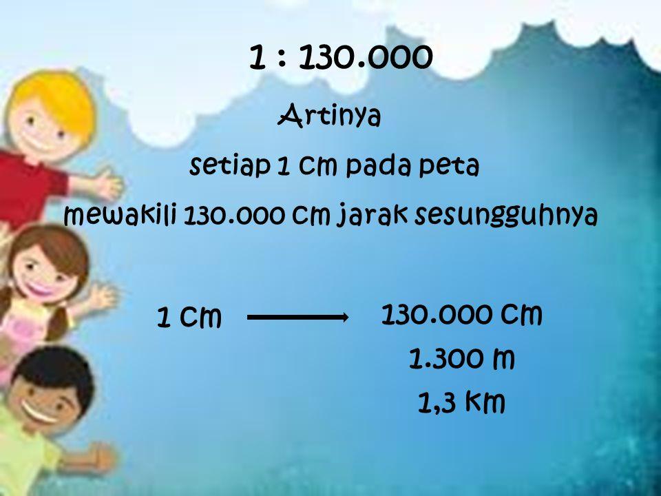 1 : 130.000 Artinya setiap 1 cm pada peta mewakili 130.000 cm jarak sesungguhnya 1 cm 130.000 cm 1.300 m 1,3 km