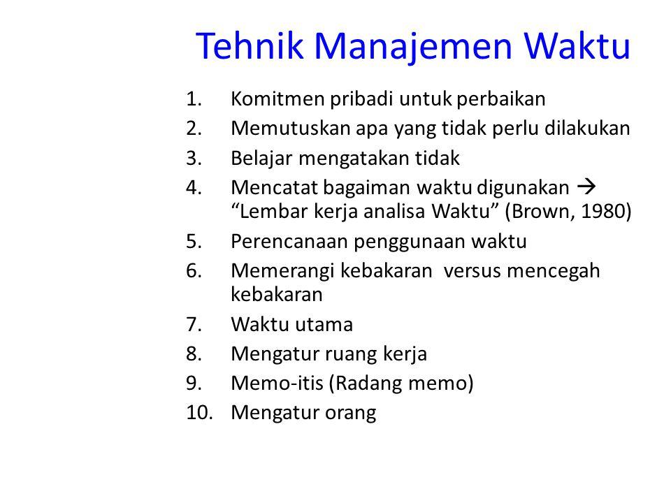 Tehnik Manajemen Waktu 1.Komitmen pribadi untuk perbaikan 2.Memutuskan apa yang tidak perlu dilakukan 3.Belajar mengatakan tidak 4.Mencatat bagaiman w