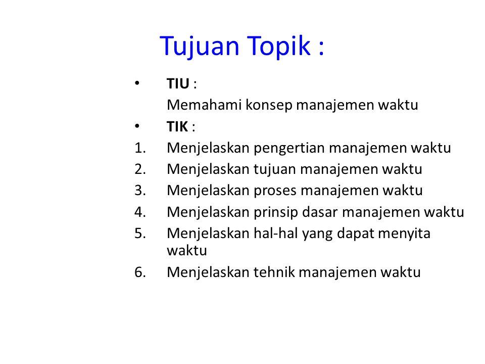 Tujuan Topik : TIU : Memahami konsep manajemen waktu TIK : 1.Menjelaskan pengertian manajemen waktu 2.Menjelaskan tujuan manajemen waktu 3.Menjelaskan
