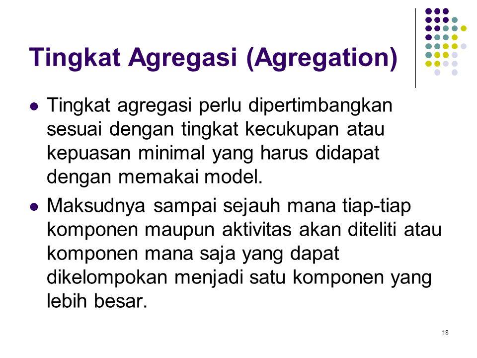 Tingkat Agregasi (Agregation) Tingkat agregasi perlu dipertimbangkan sesuai dengan tingkat kecukupan atau kepuasan minimal yang harus didapat dengan m