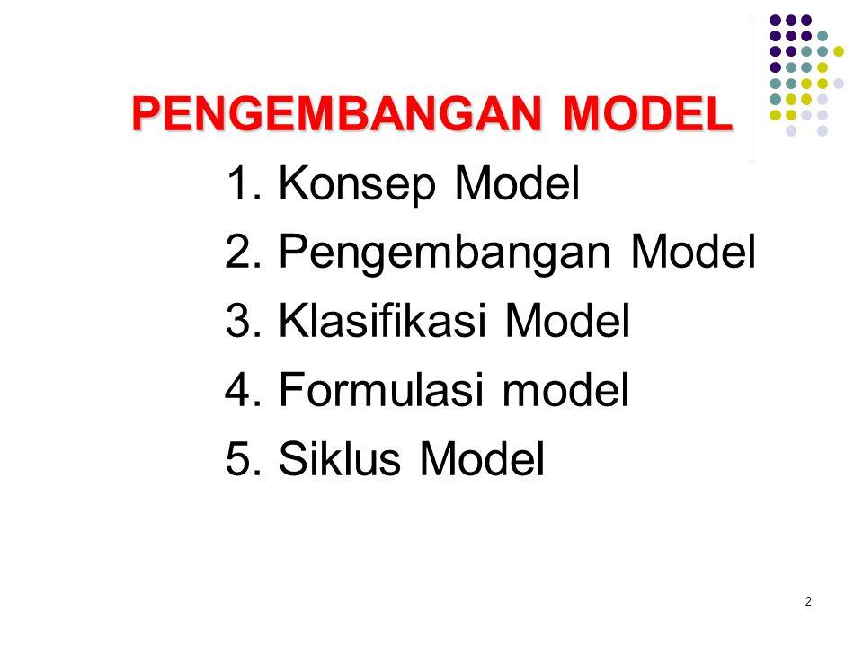 2 PENGEMBANGAN MODEL 1. Konsep Model 2. Pengembangan Model 3. Klasifikasi Model 4. Formulasi model 5. Siklus Model