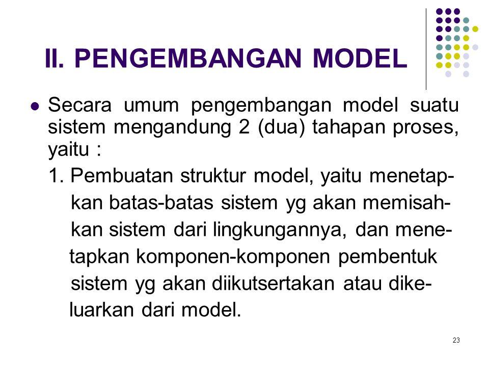 23 II. PENGEMBANGAN MODEL Secara umum pengembangan model suatu sistem mengandung 2 (dua) tahapan proses, yaitu : 1. Pembuatan struktur model, yaitu me