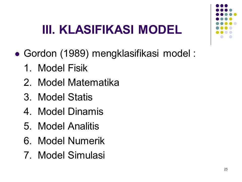 25 III. KLASIFIKASI MODEL Gordon (1989) mengklasifikasi model : 1. Model Fisik 2. Model Matematika 3. Model Statis 4. Model Dinamis 5. Model Analitis