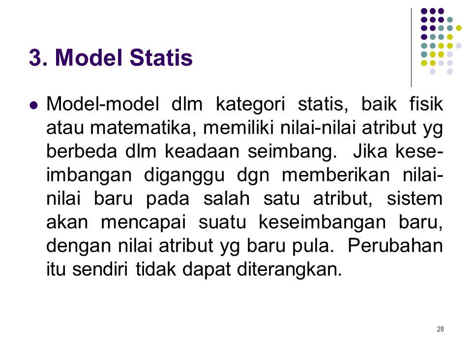 28 3. Model Statis Model-model dlm kategori statis, baik fisik atau matematika, memiliki nilai-nilai atribut yg berbeda dlm keadaan seimbang. Jika kes