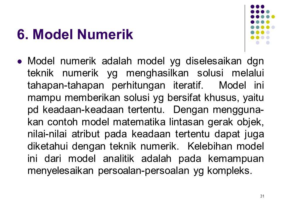 31 6. Model Numerik Model numerik adalah model yg diselesaikan dgn teknik numerik yg menghasilkan solusi melalui tahapan-tahapan perhitungan iteratif.