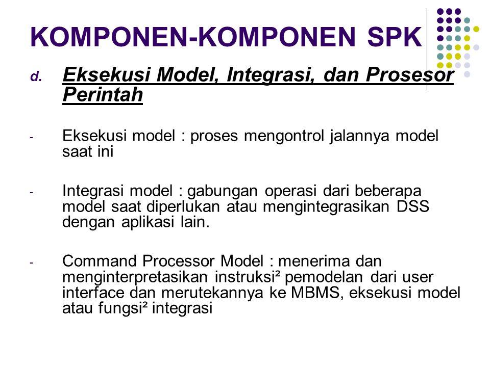 KOMPONEN-KOMPONEN SPK d. Eksekusi Model, Integrasi, dan Prosesor Perintah - Eksekusi model : proses mengontrol jalannya model saat ini - Integrasi mod