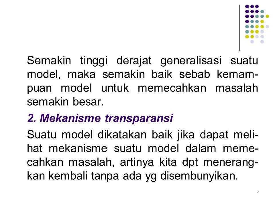 5 Semakin tinggi derajat generalisasi suatu model, maka semakin baik sebab kemam- puan model untuk memecahkan masalah semakin besar. 2. Mekanisme tran
