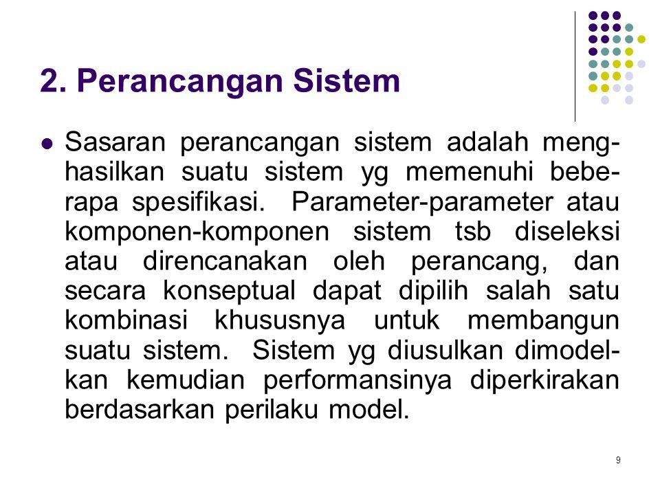 9 2. Perancangan Sistem Sasaran perancangan sistem adalah meng- hasilkan suatu sistem yg memenuhi bebe- rapa spesifikasi. Parameter-parameter atau kom