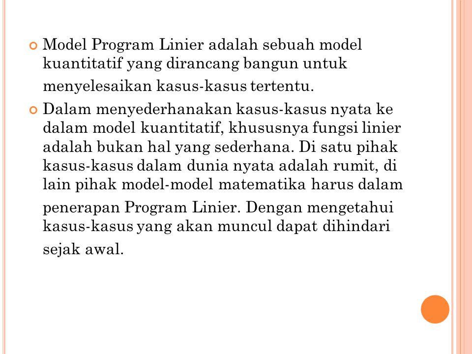 Model Program Linier adalah sebuah model kuantitatif yang dirancang bangun untuk menyelesaikan kasus-kasus tertentu.