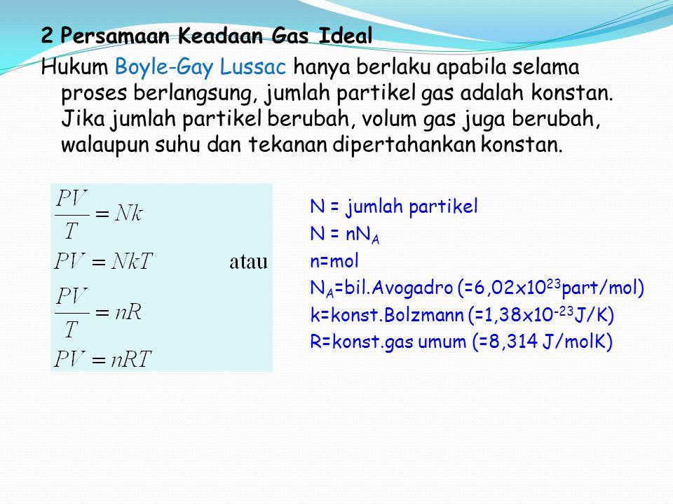 Contoh : 1.Gas nitrogen pada suhu 27 o C memiliki volume 25 liter dan tekanan 10 5 N/m 2.