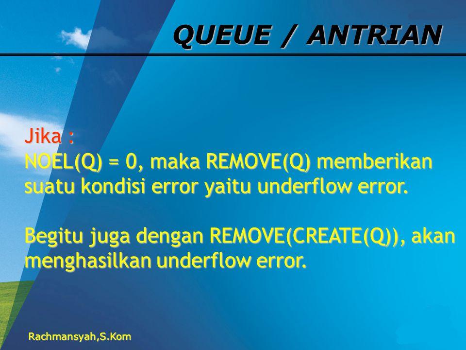 Rachmansyah,S.Kom QUEUE / ANTRIAN Jika : NOEL(Q) = 0, maka REMOVE(Q) memberikan suatu kondisi error yaitu underflow error. Begitu juga dengan REMOVE(C