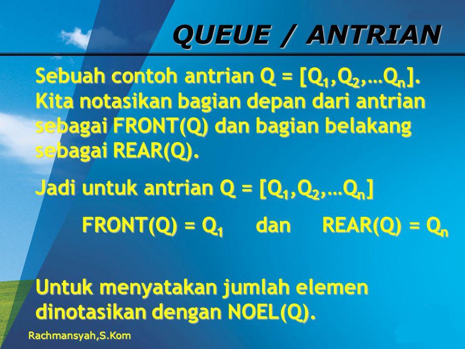 Rachmansyah,S.Kom QUEUE / ANTRIAN Sebuah contoh antrian Q = [Q 1,Q 2,…Q n ]. Kita notasikan bagian depan dari antrian sebagai FRONT(Q) dan bagian bela